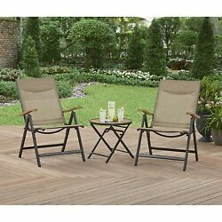 Patio Furniture Conversation Set Outdoor Deck Sling Folding Chairs Bistro Table