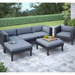 Patio Furniture Conversation Set 6 Piece Outdoor Sectional Sofa Chaise Lounge