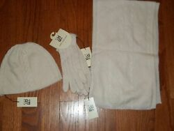 NWT Max Studio 100% Cashmere Ivory Scarf Gloves and Cap Set 3pc