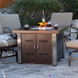 Propane Fire Pit Table Gas Square Outdoor Fireplace Backyard Patio Home Heater