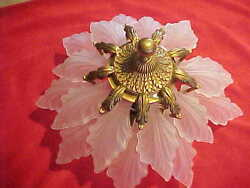 ART DECO 18 FROSTED GLASS LEAF & ANT. BRASS CHANDELIER IN THE MANNER OF LALIQUE