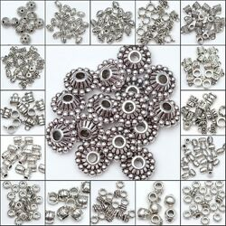 50 100pcs Wholesale Silver Plated Loose Spacer Beads Charms Jewelry Making DIY C $3.83