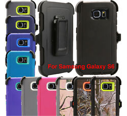 For Samsung Galaxy S6 Case Cover Rugged With (Belt Clip Fits Otterbox Defender)