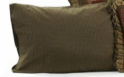 Tea Cabin Green Plaid Pillow Case Set of 2 21x30in New