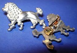 Lot of 3 Detailed Silvery Metal Poodle Dog Vintage Pins