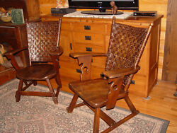 His & Hers Rare American Rustic Old Hickory Mission style arm chairs w High back