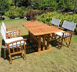 Wooden Patio Dining Set 5 Piece Outdoor Wood Folding Chairs Table Furniture Yard
