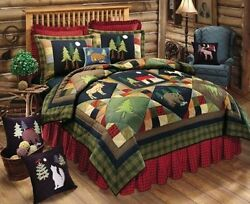 TIMBERLINE King QUILT : LODGE MOOSE BEAR CABIN PINE TREES COMFORTER New