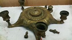 VERY HEAVY CAST METAL ANTIQUE HANGING LIGHT CHANDILIER PARTS $195.00