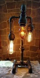 Industrial Pipe Three Tier steampunk style table desk lamp with bulbs.  $86.70