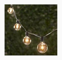 Spring Rose 50 Clear Patio String Globe Lights With Black Cord And 2 Extra Bulbs
