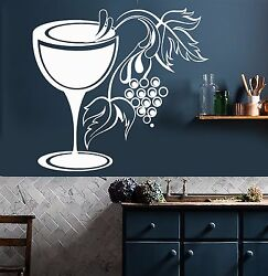 Vinyl Wall Decal Glass Grapes Wine Shop Kitchen Decor Stickers 828ig $29.99