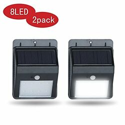2PACK 8 LED Waterproof IP64 Outdoor Solar Motion Sensor Rechargeable Security Li