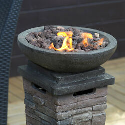 Patio Fireplace Gas Heater with Lava Rocks Stone Resin Column Fire Pit Column