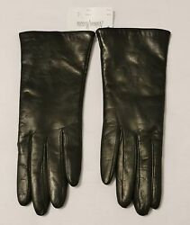 Neiman Marcus Long Espresso LeatherCashmere Lined Ladies Gloves Size 7