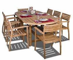 Teak Outdoor Dining Set Patio Furniture Garden Wood Pool Wooden Chairs Table 9pc