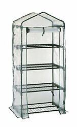 4-Tier Portable Greenhouse with Four Steel Shelves and Clear PVC Cover Mini New