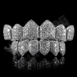 18K White Gold Bling Out Iced Custom GRILLZ Teeth Mouth Caps Top Bottom Grills $39.99