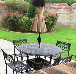5 pc set Cast Aluminum Outdoor Furniture Patio Table & 4 Chairs Bar Height