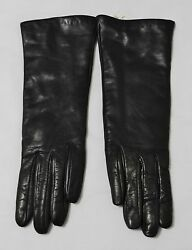 Neiman Marcus Long Black Nappa LeatherCashmere Lined Ladies Gloves Size 7 Italy