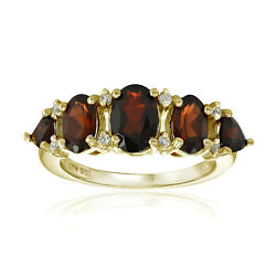 Gold Tone over 925 Silver Garnet and White Topaz 5-Stone Half Eternity Band Ring