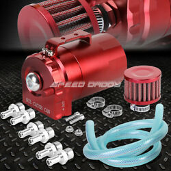 CYLINDER ALUMINUM ENGINE OIL CATCH RESERVOIR BREATHER TANKCAN W FILTER RED