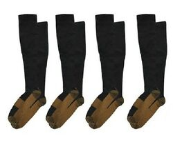 (4 Pairs) Copper Compression Socks 20-30mmHg Miracle Support Mens Womens (S~XXL) $5.95