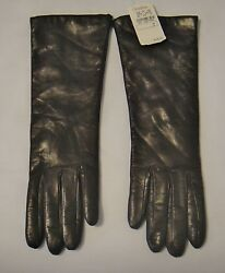 Neiman Marcus Long Chocolate LeatherCashmere Lined Ladies Gloves Size 7 Italy