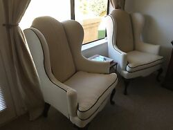 Custom Wing-Back Arm Chairs pair