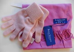 SCARF GLOVES ROYAL SPEYSIDE 100% CASHMERE MADE SCOTLAND PINKS  NEW TAGS  £89