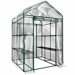 Plant Greenhouses Large Walk in Greenhouse with Clear Cover - 12 Shelves Stands