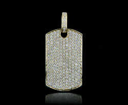 14K Gold 3.90CT Diamonds iced Out Dog Tag Pendant