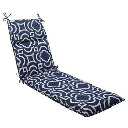 Pillow Perfect IndoorOutdoor Carmody Chaise Lounge Cushion Navy Chair Pads New