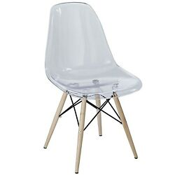 Pyramid Modern Molded Plastic Transparent Dining Side Chair Clear