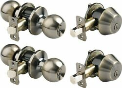 2797-109 Ball Style Keyed Alike Door Knob and Deadbolt Set Antique Brass 2-Pack