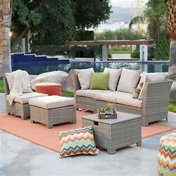 Outdoor Wicker Patio Furniture Resin Fire Pit Chat Set Khaki All Weather Proof