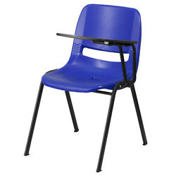 Blue Ergonomic Shell Chair With Left Handed Flip-up Tablet Arm