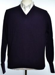 Kiton Mens Purple Cashmere Thin Knit V-Neck Sweater Size 50 M NEW
