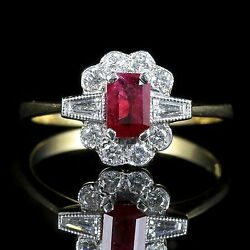 RUBY AND DIAMOND ENGAGEMENT RING 18CT GOLD 1CT RUBIES