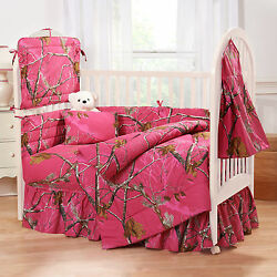 REALTREE AP FUCHSIA HOT PINK CAMO CRIB SET CAMOUFLAGE BABY BEDDING 6 PIECES!