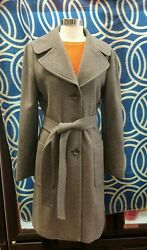 BANANA REPUBLIC Women's Used Gray Wool Blend Single Breasted Long Coat Size Medi