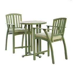 Bistro Table And Chairs Outdoor Pub Height Dining Set 3 Piece Patio Deck Garden