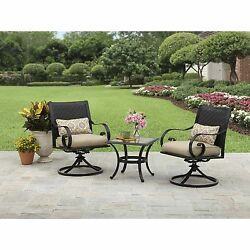 Outdoor Patio Furniture Bistro Set 3 Piece Deck Garden Swivel Chairs Chat Table