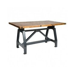 Adjustable Height Dining Table MetalWood Rustic Industrial Home Kitchen Decor