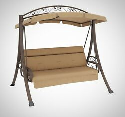 Patio Swing with Canopy Swinger Soft Foam Weather Resistant Backyard Furniture