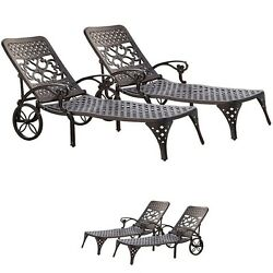 2 Set Chaise Lounge Chair Outdoor Patio Furniture Black Garden Pool Relaxers