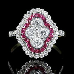 RUBY DIAMOND CLUSTER ENGAGEMENT RING 18CT WHITE AND YELLOW GOLD