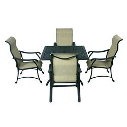 Patio set of 5 Table Chairs sling Furniture outdoor Dining dark Bronze Trinity