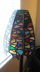 Stained lamp shade and stand $200.00