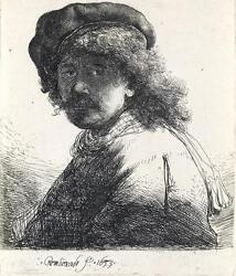 REMBRANDT VAN RIJN Self Portrait in a Cap and Scarf with the Face Dar... Lot 124